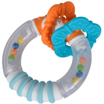 bijtring en rammelaar ABC junior 9 x 4,3 cm blauw/oranje