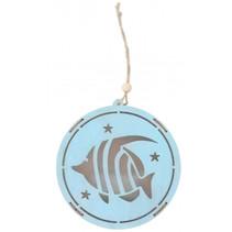 decoratiehanger led vis 14,5 cm hout blauw