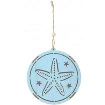 decoratiehanger led ster 14,5 cm hout blauw