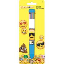 balpen Emoticon 10-kleuren junior 15,8 cm blauw/wit