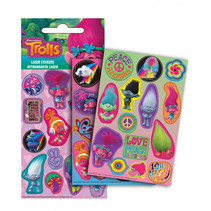 stickers Trolls junior papier roze/groen