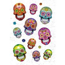 stickervel Flowerpower Skull 16 cm glitter folie 14-delig
