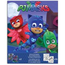 kleurplaat en stickers PJ Masks 25 cm blauw 17-delig