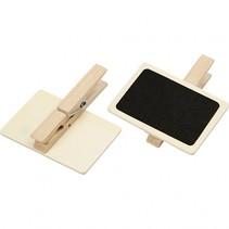 krijtbordjes met wasknijpers 6,8 x 4,7 cm hout 6 stuks