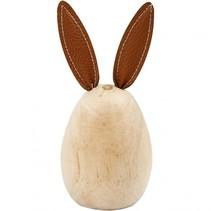 houten konijn 13 cm grenen/leer blank/bruin per stuk