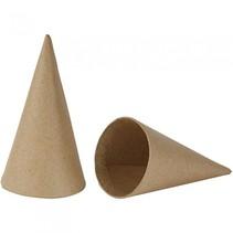 kegels papier-maché 14 cm bruin 10 stuks
