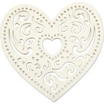 lasergesneden hart wit 7,5 cm 18 stuks