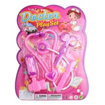 speelset dokter meisjes paars/roze 4-delig