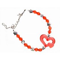 armband hart meisjes 15 cm rood
