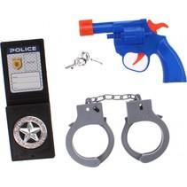politieset blauw/grijs/zwart 4-delig