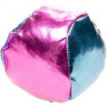 jongleerbal metallic 4 cm kunstleer roze/blauw