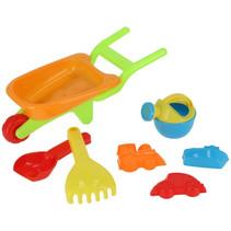 strandspeelgoed kruiwagen junior 36 cm oranje 7-delig