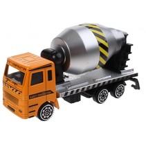 cementwagen die-cast 11 cm oranje/zilver