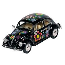 Metalen Volkswagen Kever Bloemen: 17 cm Zwart