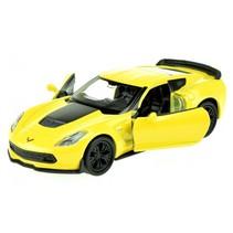 schaalmodel Chevrolet Corvette 1:34 geel 11 cm