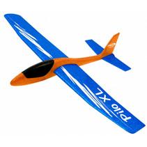 werpvliegtuig Pilo XL junior 68 cm schuim oranje/blauw