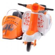 scooter met zijspan diecast 12 x 9 x 7 cm oranje