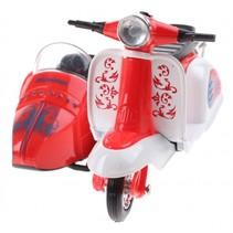 scooter met zijspan diecast 12 x 9 x 7 cm rood