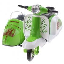 scooter met zijspan diecast 12 x 9 x 7 cm groen