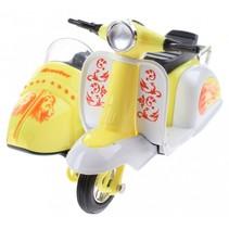 scooter met zijspan diecast 12 x 9 x 7 cm geel