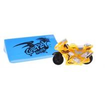 racemotor met schans geel 6 cm