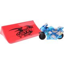 racemotor met schans blauw 6 cm