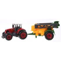 tractor met aanhanger 22 cm sproeier geel