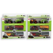 tractorset kunststof/diecast 6-delig