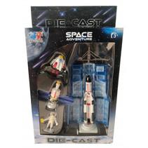 speelset Space Adventure jongens 12 cm staal 4-delig