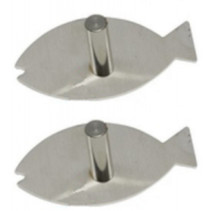 kapstok visssen junior 10 cm RVS zilver 2 stuks
