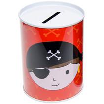 spaarpot piraat jongens 11,5 cm polypropyleen rood