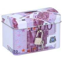 spaarpot 500 euro 11,6 x 8 cm staal paars/wit