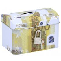 spaarpot 200 euro 11,6 x 8 cm staal geel/wit