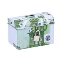 spaarpot 100 euro 11,6 x 8 cm staal groen/wit