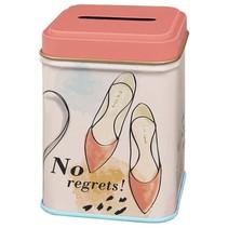 spaarpot No regrets! 8,2 cm roze/beige