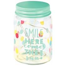 potjeslamp Happy Me junior glas/staal 7,5 cm blauw