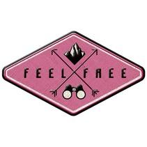opstrijkpatch Feel Free 7 x 4 cm roze/zwart