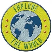 opstrijkpatch Explore the World 6 cm blauw/geel