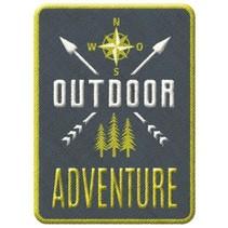 opstrijkpatch Outdoor Adventure 6,5 x 4,5 cm grijs/groen