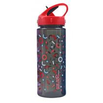 drinkfles 500 ml rood/zwart/transparant