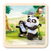 legpuzzel Little Mole & Panda Scooter junior hout 4-delig