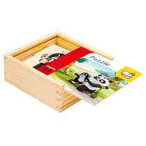 legpuzzel Panda & Little Mole junior 12 cm hout 17-delig