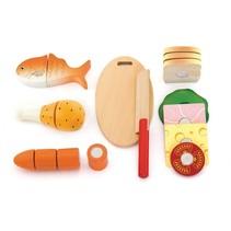 houten snijset snijplank met speelgoedeten 10-delig