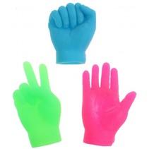 vingerpoppen kleine handen groen 6.5 cm