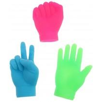 vingerpoppen kleine handen blauw 6.5 cm