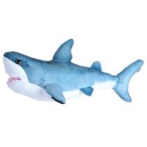 knuffel witte haai junior 30 cm pluche blauw/wit
