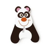 letter A pandabeer zwart/wit 5.5 cm