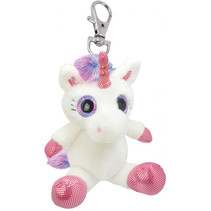 sleutelhanger Unicorn meisjes 10 cm pluche wit/roze