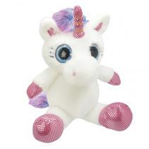knuffel Unicorn meisjes 25 cm pluche wit/roze