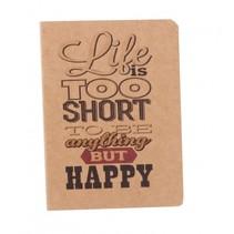 schrift life is short bruin 14 cm